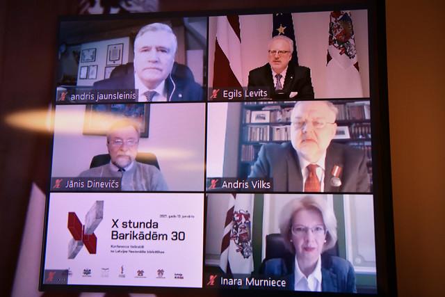 """13.01.2021. Valsts prezidents Egils Levits atklāj Barikāžu 30. gadadienai veltītu tiešsaistes konferenci """"X stunda. Barikādēm 30"""""""