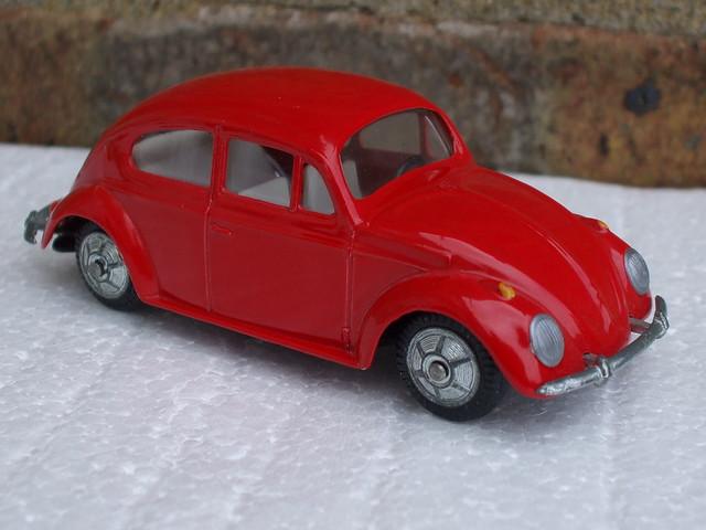 Vintage 1960's Bright Red Tekno VW Volkswagen Beetle Diecast Toy