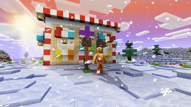 Amazing Christmas House for Gingerbread in RealmCraft Free Minecraft Clone