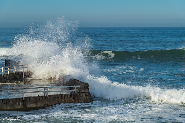Waves over the sea wall