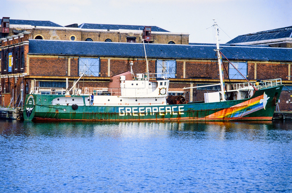 Rainbow Warrior, Greenpeace, West India Dock, Tower Hamlets, 1984 84-Greenpeace-001