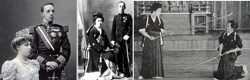 La Reina Victoria Eugenia de Battenberg y el Rey Alfonso XIII, con sus visitas, los Marqueses de Kôchi Yamauchi Sachiko y Yamauchi Toyokage, Yamauchi Sachiko con naginata, practicando con la 15º sôke de Jikishinkage ryû naginatajutsu Sonobe Hideo