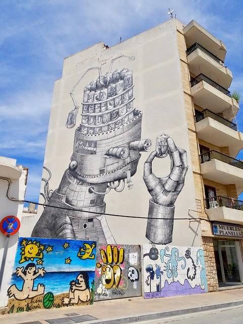 """Control"" by street artist Phlegm, San Antonio de Portmany, Ibiza."