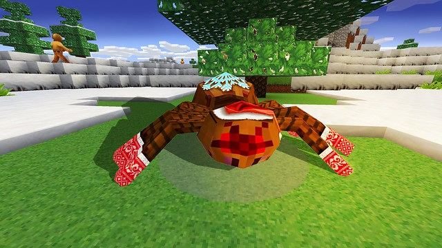Spider in Cute Christmas Socks in RealmCraft Free Minecraft StyleGame