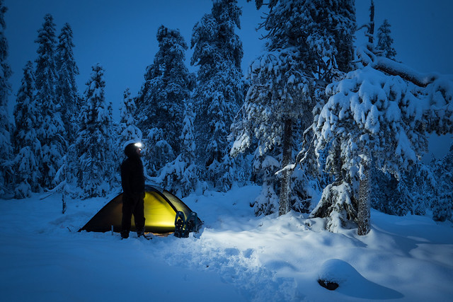 Winter camping at Gyllbergen