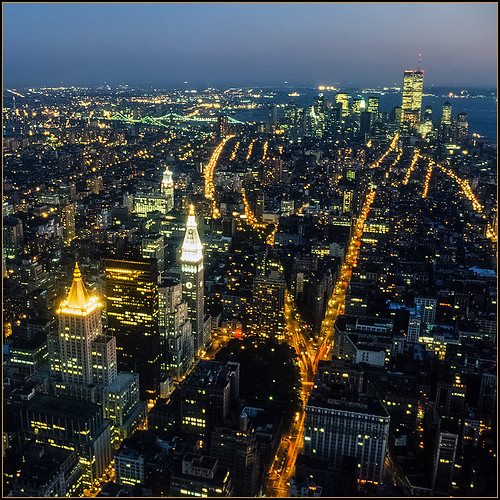 usa newyork manhattan night city metropole view