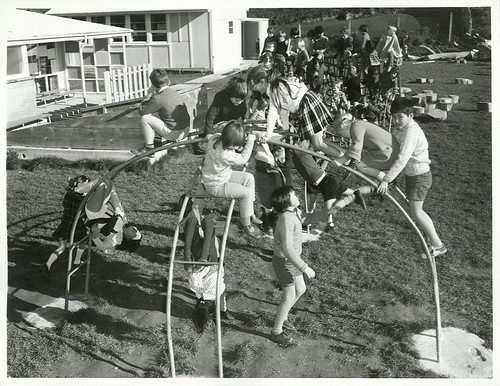 <p>Title:<br /> Children<br /> <br /> Publicity Caption:<br /> Children of Paparangi Primary School on their jungle gym..<br /> <br /> Photographer:<br /> Nicholson<br /> <br />  <br /> <br /> May 1973, Wellington <br /> <br /> Archives New Zealand Reference: AAQT 6539 W3537  134 /   B3102   Photograph</p>