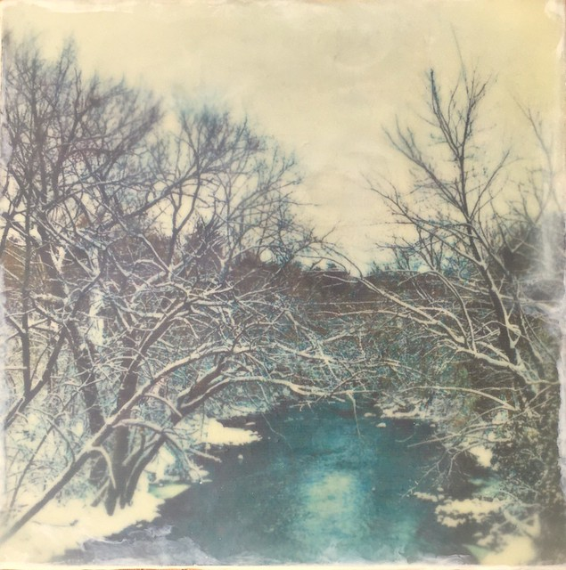 Snowy Wisconsin Scene- Encaustic on wood