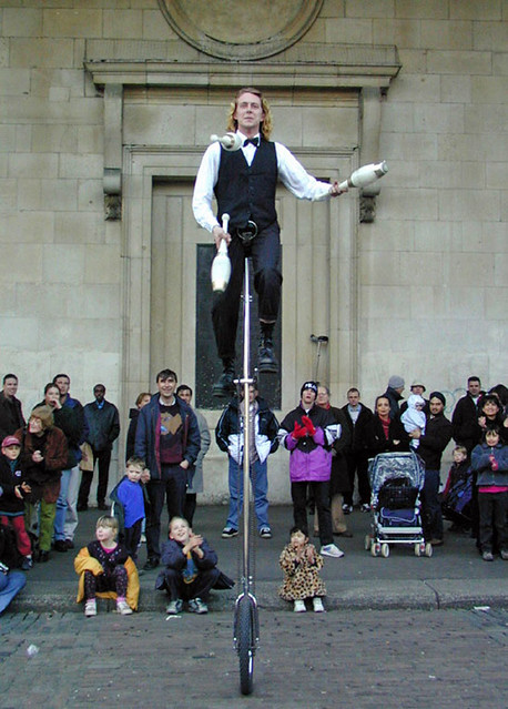 Unicyclist in Covent Garden, London