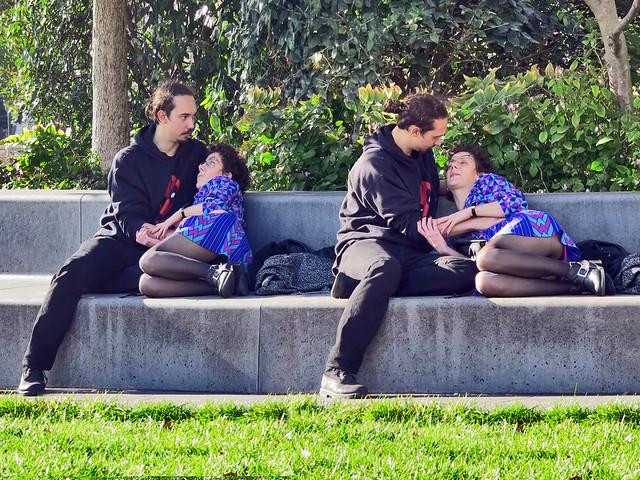 Lovers sitting in the Mandela gardens