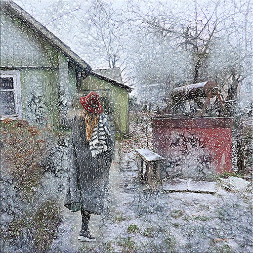 Snowing. | by Nellie Vin