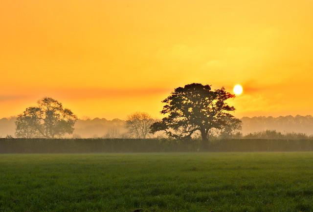 Lancashire countryside sunset