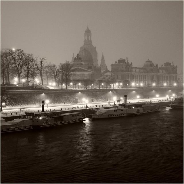 Dresden im Schneetreiben