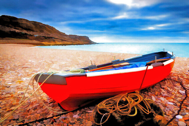 Red Boat on Dorset Beach...EXPLORED