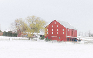 Red Barn on a snowy day