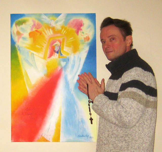 Artist Stephen B Whatley with Divine Mercy For Humanity and The World. 2020 - January 4 2021