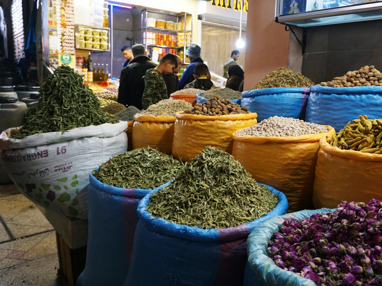 Meknes market tea leaves