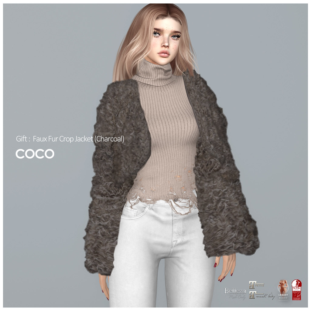 COCO Group Gift : Faux Fur Crop Jacket (Charcoal)