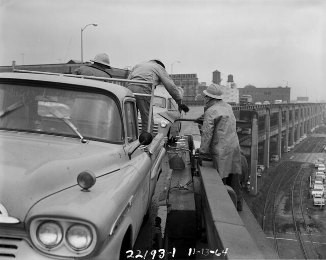 Alaskan Way Viaduct rail repairs, 1964
