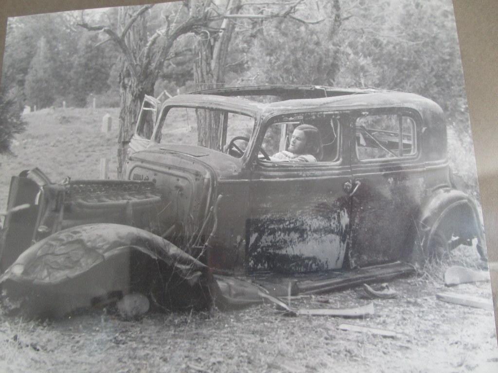 1934 Buick four door sedan hulk Forest City, CA graveyard, Oct. 1973