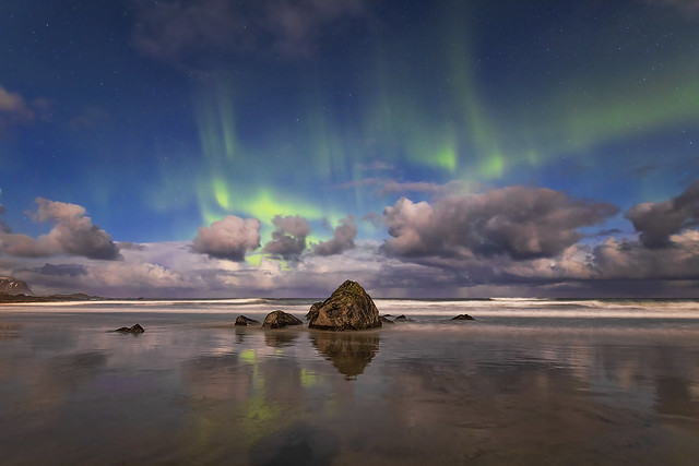 Aurora Borealis Over Skagsanden Beach, Lofoten, Norway
