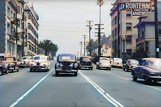 Cruising the streets of 1940s Los Angeles in the Bunker Hill neighborhood. Lots of colorful cars, palm trees and bright SoCal skies. The city completely leveled this entire area during the mid 1960s under the guise of urban renewal.