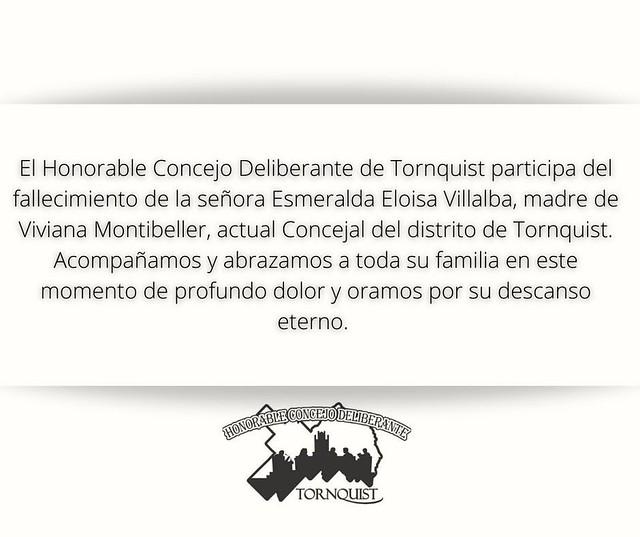 El Honorable Concejo Deliberante de Tornquist participa del fallecimiento de la señora Norma Nelida Larrainzar, abuela de Fátima Gonzalez, actual empleada administrativa del H.C.D. de Tornquist. Acompañamos y abrazamos a toda su familia en este momento de
