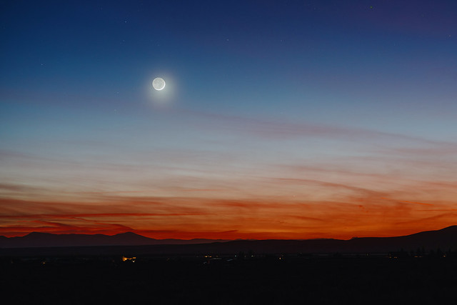 The Moon and Mercury Setting over New Mexico