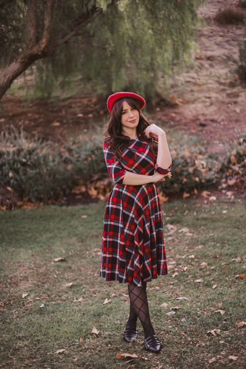Unique Vintage 1950s Red & Black Plaid Nicole Swing Dress