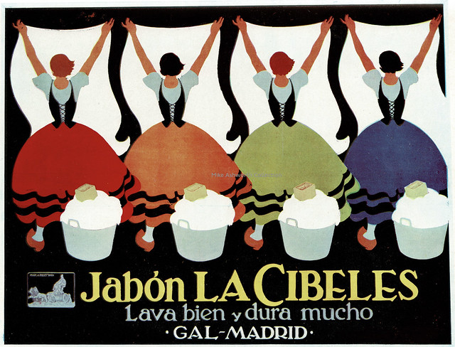 Jabón La Cibeles - poster issued by Perfumeria Gal, Madrid, España, c1927 : designed by Don Frederico Ribas