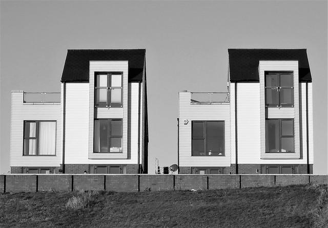 Geometric Seafront Buildings B&W