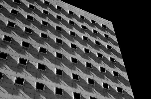 Shadows on Bob Casey Federal Courthouse, Houston (infrared)