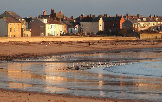 Newbiggin-By-The-Sea - Seafront Buildings, Sand and Sea