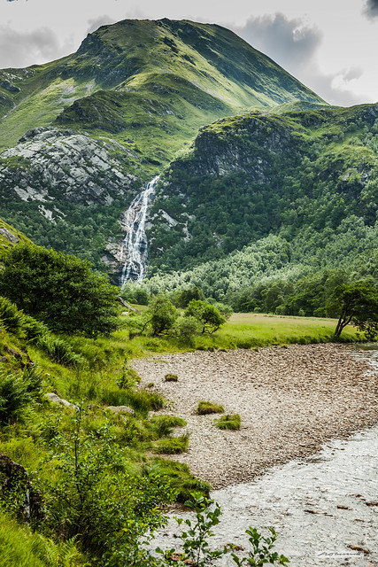4OO foot Steall Falls and The Waters of Nevis at the head of Glen Nevis and its gorge.