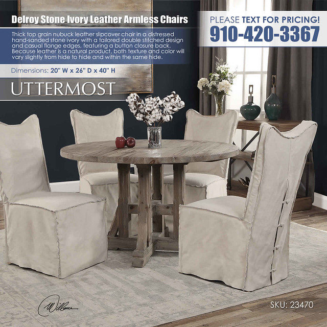 Delroy Stone Ivory Leather Armless Chairs_Uttermost_23470