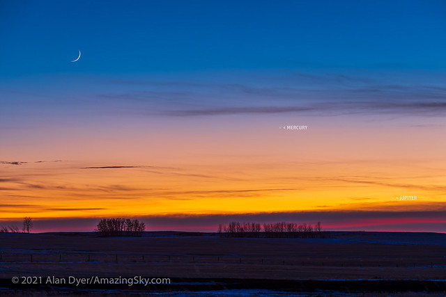 Waxing Moon, Mercury and Jupiter (with Labels)
