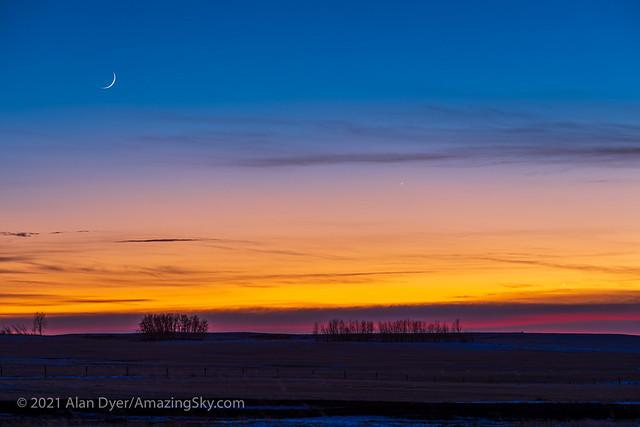 Waxing Moon, Mercury and Jupiter