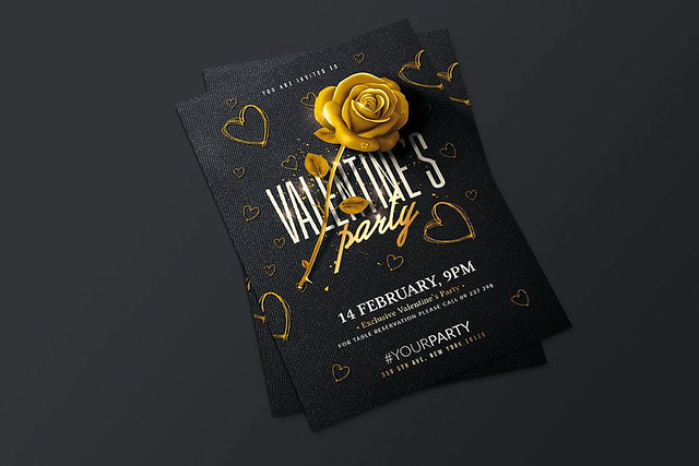 Valentines Day Party Flyer Template - Photosho PSD