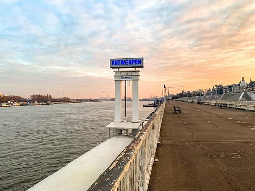 antwerp antwerpen belgium belgië visitflanders visitantwerp quay scheldt flanders europe sunrise
