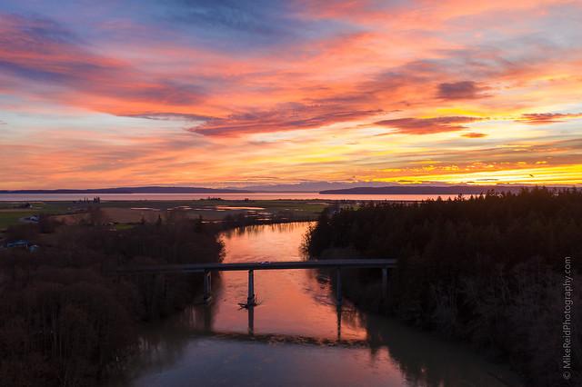 Sunset Bridge Over the Skagit River