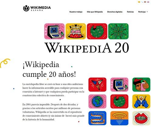¡Wikipedia cumple 20 años hoy 15-1-21!