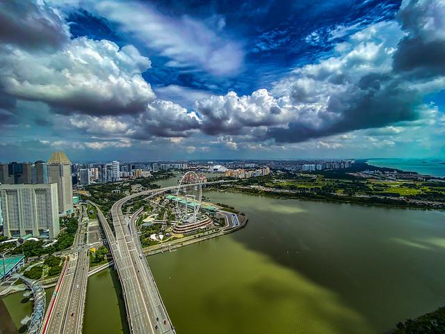 View of ritz Carlton Millenia , Marina Bay circuit and national stadium