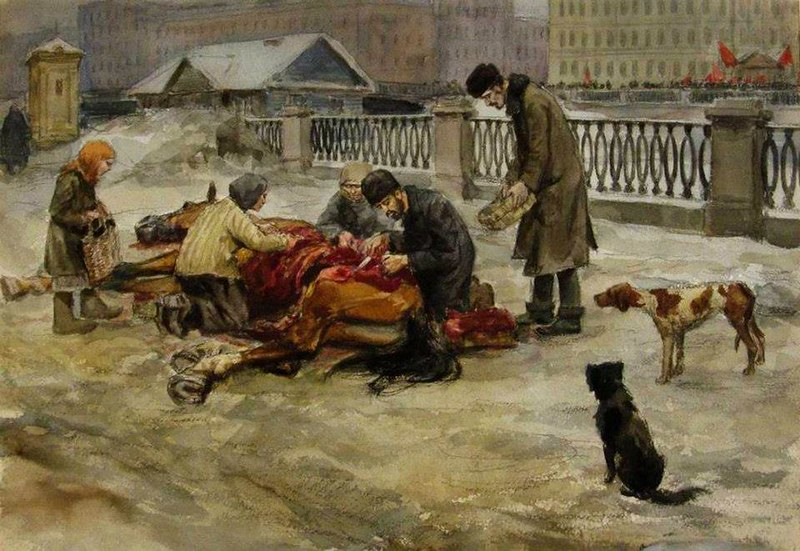 Иван Владимиров. 1919 г. Петроград. Разделка павшей лошади