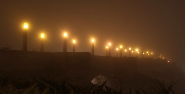 Under the fog.