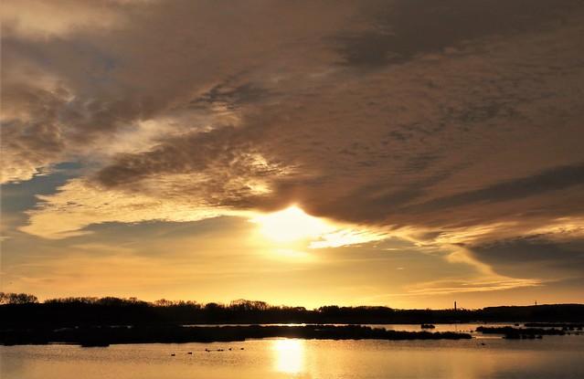 Druridge Sunrise - Cloudscape Over Wetlands