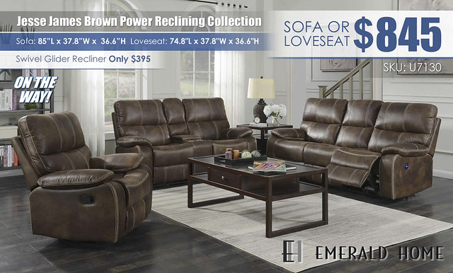 Jesse James Brown Power Reclining Collection_U7130