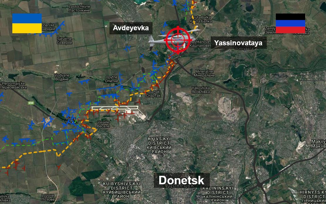 Carte des tirs de l'armée ukrainienne contre un des drones de l'OSCE à Yassinovataya