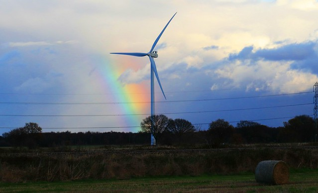 Wind Turbine & Rainbow 6th December 2019 near Mauds Bridge