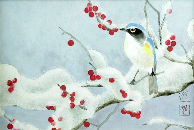 Winterberry and red-flanked bluetail