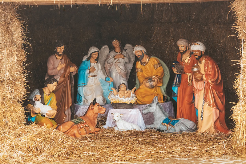 Christmas nativity scene, festive installation